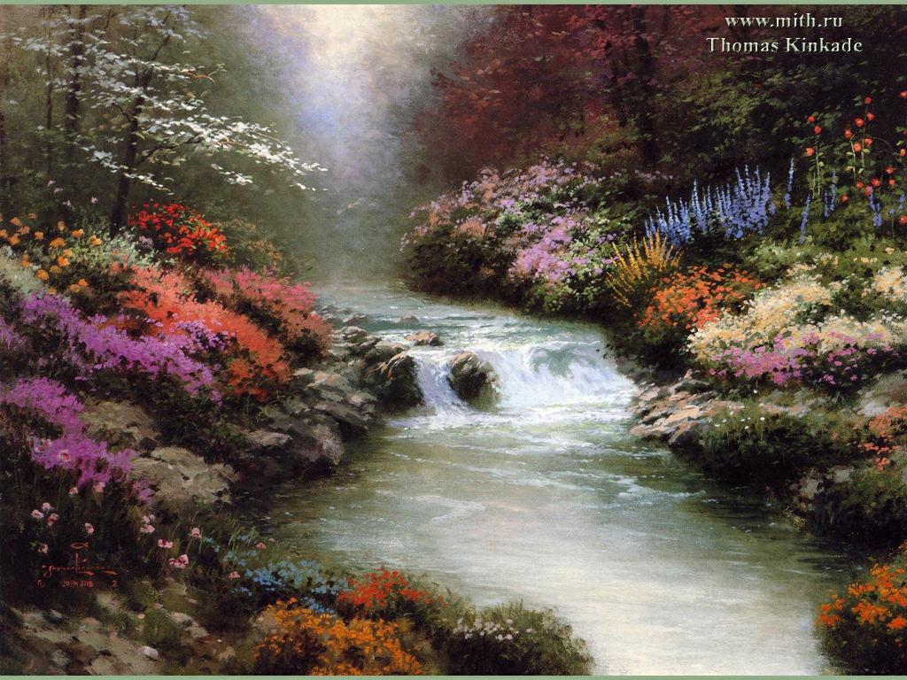 Картина Кинкейда.  Лесная речка.  Вышивка крестом, схемы.  СХЕМА.