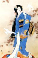 """Схема вышивки  """"Японка и голуби """": комментарии."""